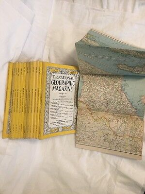1934 National Geographic Magazine. Set Of 12 January To December. W Map