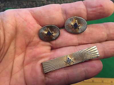 Vintage Masonic Matched Set *Cuff Links & Tie Clasp*