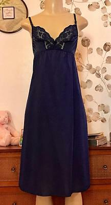 Vintage Vanity Fair Navy Blue With Lace Full Slip  38 L   Usa Made  051622
