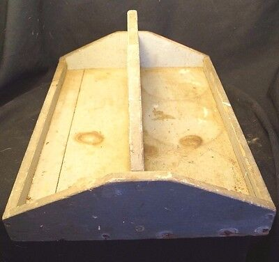 """Antique Primitive Caddy Wood Tote Carrier Tray 16"""" X 12"""""""
