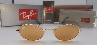 Ray-Ban Sunglasses RB3547N 001/Z2 Oval Gold Frame/Copper Flash Lens Authentic