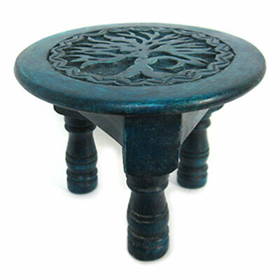 "NEW Tree of Life Mini Altar Table 6"" Carved Wood Green Pagan Handmade Wooden"