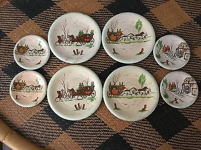 VINTAGE TIN TOY LITHO DOLL DISHES STAGECOACH HORSE AND BUGGY 8 PC c 1940's
