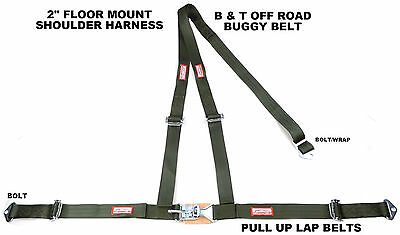 """2"""" Latch & Link Y Racing Harness 3 Point Seat Belt Military Green Racerdirect"""