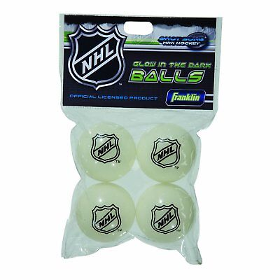 Franklin Sports Indoor Outdoor 2 Inch Mini Hockey Glow in the Dark Balls 4 Pack