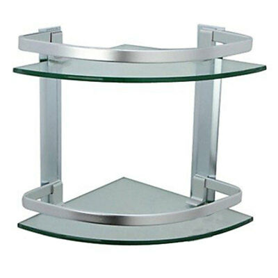 Bathroom Shower 2 Tier Glass Shelf Caddy Organizer Aluminium