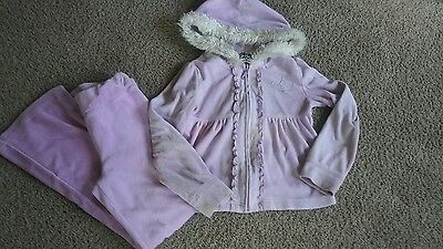 Basic Edition Girls Purple Velour 2pc Outfit Set Hoodie&Pants size 7/8