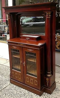 Antique 19th C EMPIRE Glass Door Mirror SIDEBOARD CABINET Server Hutch Credenza