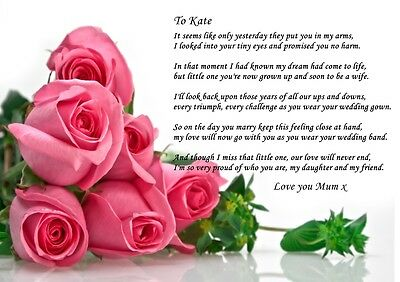 A4 PERSONALISED POEM To Daughter Grand Daughter On Wedding