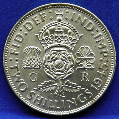1945 Great Britain Florin Two Shilling 500 Silver King George VI KM# 855 UNC