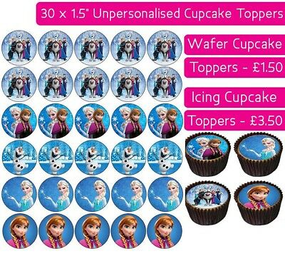 30 Frozen Team Edible Wafer & Icing Cupcakes Toppers Birthday Party Elsa Anna