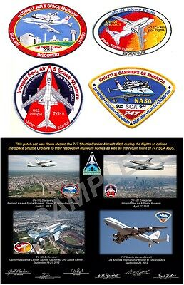 Patch Set Flown On Nasa 747 Sca For Space Shuttle Museum Delivery Flights