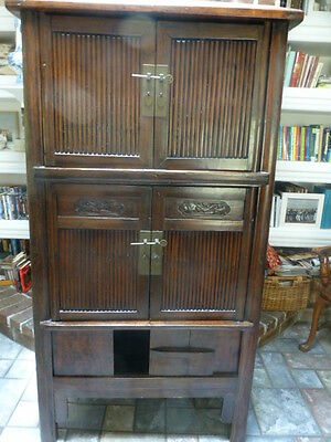 Antique Lacquered Chinese Round Cornered  A Frame Pegged Doors Tapered Cabinet