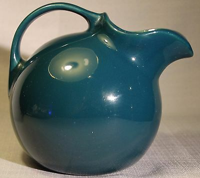 Vintage Hall Forest Green Ball Pitcher Large Jug With Ice Lip #633 EUC +