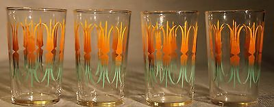 Vintage Federal Glass Small Drinking Cups Set Lot Of 4 ! Retro Barware Kitchen +