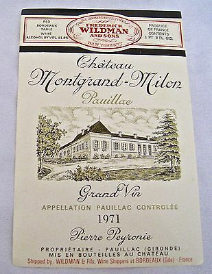 Vintage Wine Label 1971 Chateau Montgrand-Milon Pauillac Grand Vin