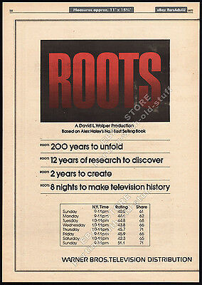 ROOTS__Original 1977 Trade Print AD 3pg. promo / poster__TV Ratings__ALEX HALEY