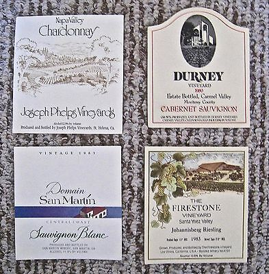 Vintage Wine Label Lot 4 California Wine Labels Durney San Martin Assorted