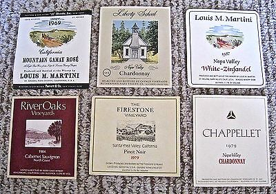 Vintage Wine Label Lot 6 California Wine Labels Napa Valley Assorted