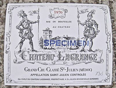Vintage Wine Label 1970  Chateau Lagrange Grand Cru Classe