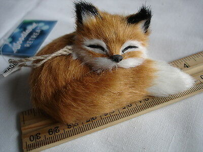 "New Fox Replica Adorable Furry Animal Figurine 4"" x 2.5"" x 2"" Tall"