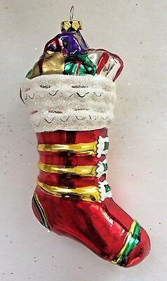 "Vintage Blown Glass Christmas Stocking w/ Presents Ornament 6"" mica gold cap"