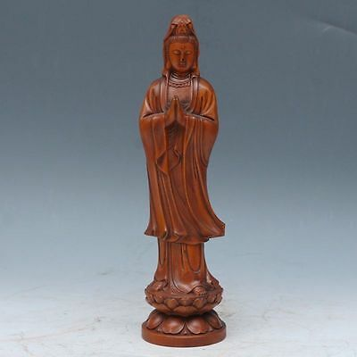 Chinese Exquisite Hand-carved Boxwood carving Guanyin / Kwan-yin statue