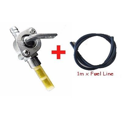 Fuel Tank Switch Petcock Tap + Fuel Line Hose Motorized Bicycle Bike 49cc-80cc