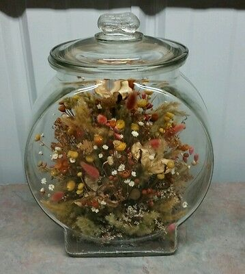 Antique Planters Peanut Store Counter Jar With Peanut Finial Lid