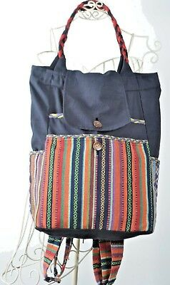 Nepal Boho Backpack Sporting Bags Cotton Bags School bags Mexican Bag 2 in one