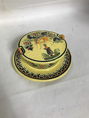 Henriot Quimper Covered Yellow Butter Tub Jam Jar