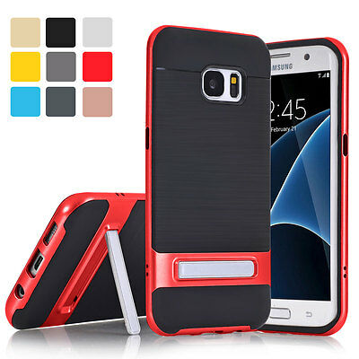 Hybrid Shockproof Dual Protective Stand Case Cover For Samsung Galaxy S6 S7 Edge