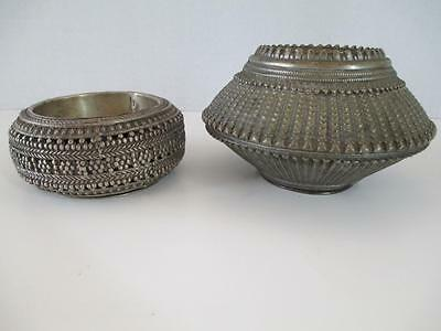 2 Unusual Textured Antique Hand Crafted Engraved Brass Silver Tribal Anklet Bowl