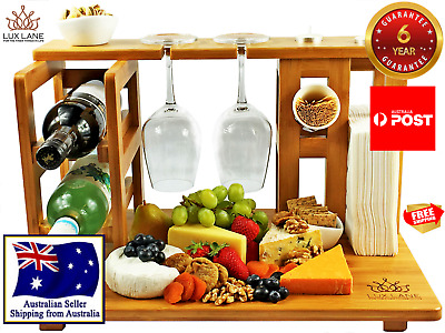 NEW Ultimate Cheese Board + Wine Rack Wood Bamboo by Lux Lane (6-year guarantee)