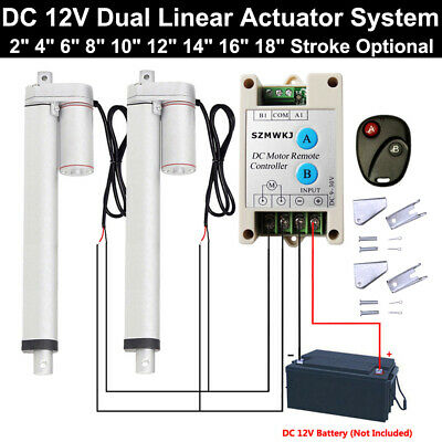 Heavy Duty 2PCS Linear Actuators +Positive Inversion Controller +Mount Brackets