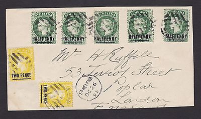 LM3) St. Helena 1895 cover front to UK with 7 x QV stamps