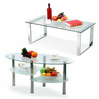 Modern Design Living Room Glass Side Coffee Table Shelf Chrome Base End Tables
