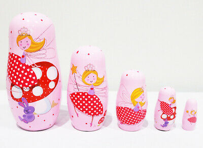 New 5Pcs/Set Wooden Dolls Matryoshka Nesting Russian Fairy Angel Babushka Gift