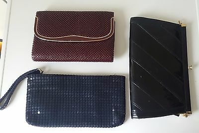 3 x vintage purses clutches like Glomesh black navy blue and maroon.