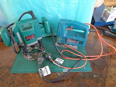 Ryobi router and Black & Decker jigsaw, tagged, used condition