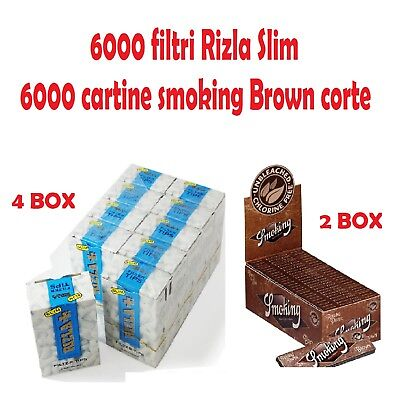 6000 FILTRI RIZLA SLIM<br />6000 CARTINE SMOKING BROWN CORTE
