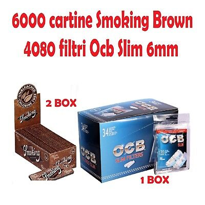 6000 CARTINE SMOKING BROWN CORTE<br />4080 FILTRI OCB SLIM 6mm
