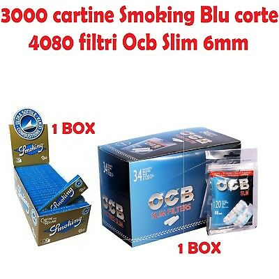 3000 CARTINE SMOKING BLU CORTE<br />4080 FILTRI OCB SLIM 6MM