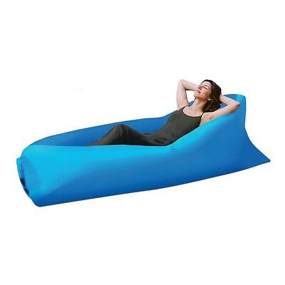 Air LayBed Laybag Camping Fast Inflatable Lazy Lounge Sleep Bag Sofa Hiking Blue