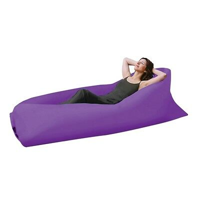 Air LayBed Laybag Camping Fast Inflatable Lounge Sleep Bag Sofa Hiking Purple