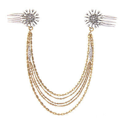 Stunning Wedding Formal Multi Layered Gold Chains Crystals Star Hair Comb Pin