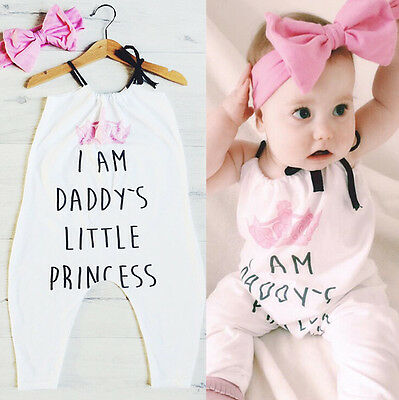 Daddy's Newborn Baby Girls Romper Bodysuit Jumpsuit Outfit Set Clothes Headband