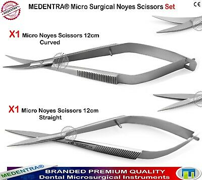 2PCS Noyes Micro Scissors Spring Action Curved Scissor Surgery Microsurgical New