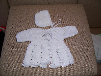 NEW HAND CROCHET BABY JACKET & bonnet white WITH SILVER FLECK  NEWBORN
