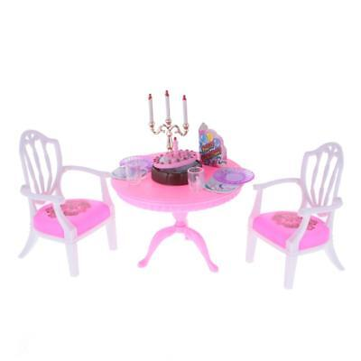 Dollhouse Furniture Dining Table Chair Birthday Cake Set for 1/6 Barbie Doll
